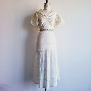 Vintage 1930s Bias Cut Puff Sleeve Wedding Dress